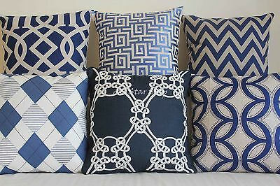 Vintage Navy Set Home Decor Linen CUSHION COVER PILLOW CASE 18""