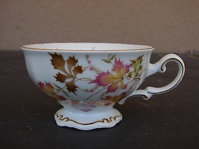 """CH-79 Mitterteich Germany teacup """"Autumn""""; maple type leaves; Bavaria china"""