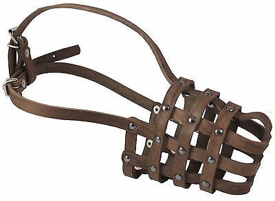 Genuine Leather Mesh Basket Secure Muzzle #143, German Shepherd, Labrador, Husky