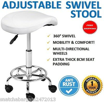 NEW Saddle PU Swivel Gas Lift Stool White Hairdresser Medical Clinic Salon Chair
