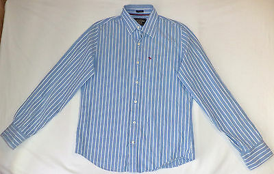 Abercrombie & Fitch L/S Blue & White Striped Button Front Shirt    L      K#8885