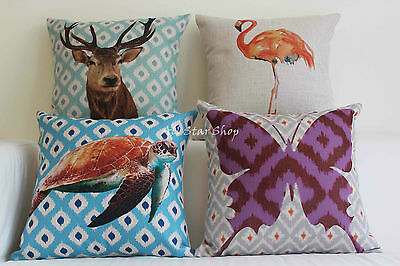 Animal Vintage Linen Cotton Cushion Cover Home Decor Throw Pillow Case 18""