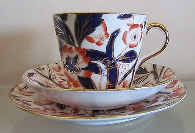 BLOOR DERBY=BAMBOO PATTERN=Imari Pallet=TEA/COFFEE TRIO=c1830=EXTREMELY RARE!!
