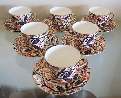 BLOOR DERBY BAMBOO PATTERN (Imari Pallet) 6 huge TEA CUPS & SAUCERS=c1830=RARE!!
