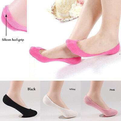 WOMEN Bamboo No Show LOW CUT INVISIBLE BOAT SOCKS With Heel-Grip SOL01
