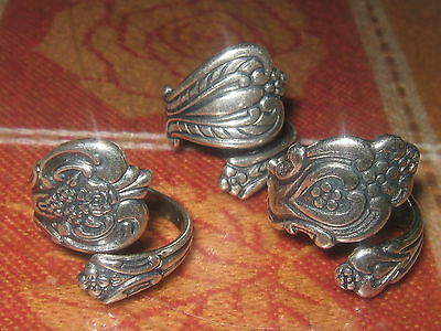 LOT OF 3 VINTAGE ANTIQUE STYLE ADJUSTABLE ROSE SILVER SPOON RINGS SIZES 6-10