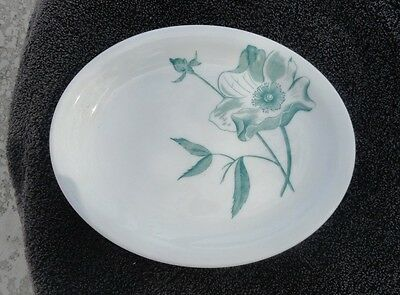 Iroquois Green Flower Leaves Oval White Plate
