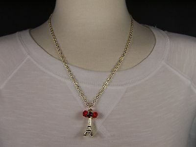 "Gold tone beaded La Tour Eiffel Tower 19"" long necklace Paris France pendant"