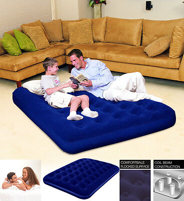 COMFORT QUEST FLOCKED DOUBLE AIR BED INFLATABLE AIRBED - BLUE 75 x 54 x 8.5 INCH