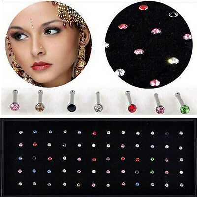 NEW 60Pcs Wholesale Lots Mixed Color Crystal Rhinestone Nose Ring Stud Earrings