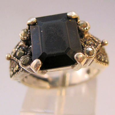 Art Deco Style Onyx Marcasite Sterling Silver Ring Size 7 Sgd NF Vintage Jewelry