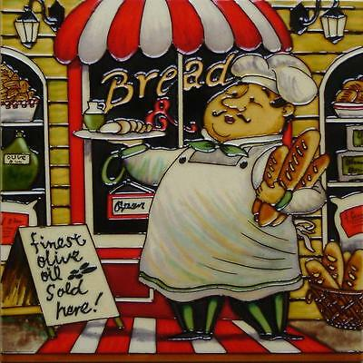 "HAND PAINTED CERAMIC WALL TILE ""BREAD CHEF"" by K TOBIN ART 12"" x 12"" NEW BOXED"