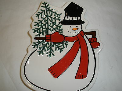 Fitz & Floyd Holiday Home Snowman Snack Plate Spreader Christmas Red White New