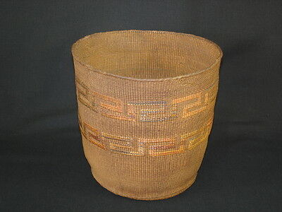 A Tlingit basket with colored design, Native American Indian, Circa: 1900