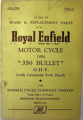ROYAL ENFIELD 350 Bullet - Motorcycle Owners Parts List - 1954 - #362/2½M-754