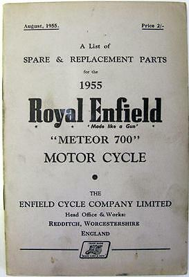 ROYAL ENFIELD Meteor 700 - Motorcycle Owners Parts List - AUG 1955 - #450/3M.855