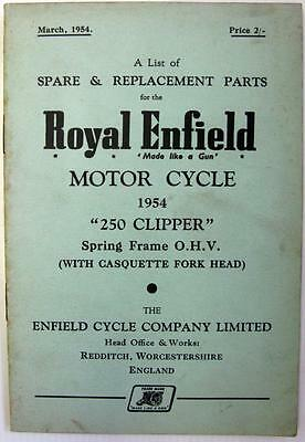 ROYAL ENFIELD 250 Clipper - Motorcycle Owners Parts List - Mar 1954 -#358/1M.354