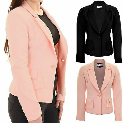 Ladies Padded Shoulders Lined Elegant Smart Low V Neck Office Jacket Blazer