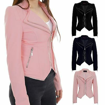 Ladies Long Sleeve Collared Double Zip Padded Shoulder Smart Jacket Blazer