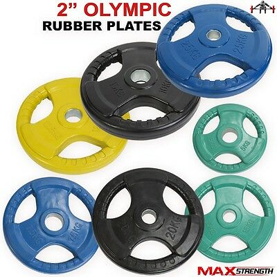 """2"""" Hole Olympic Rubber Tri Grip Disc Colour Weight Plates Gym Training Barbell"""