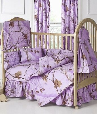 REALTREE AP LAVENDER PURPLE CAMO BABY CRIB BEDDING - BUMPER PAD, HEADBOARD SHEET