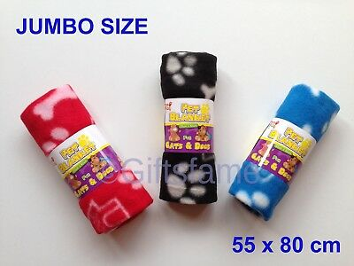 Soft Cosy Paw Print Dog Cat Puppy Animal Pet Fleece Blanket Bed Car 70 x 70cm