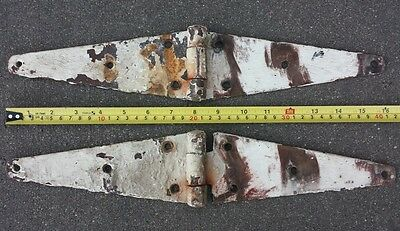 2 Vintage Barn Door Hinges 16x3 Antique Salvage Hardware Rusty Ranch Farm