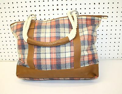 NICE GREAT CONDITION LARGE PLAID DES.WOOL LEATHER PENDLETON CARGO TOTE BAG PURSE