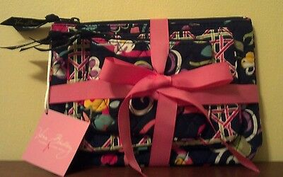 Vera Bradley NWT Retired *Cosmetic Trio in Ribbons* Authentic/Gift Idea/Washable