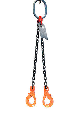 "Chain Sling - 5/16"" x 5' Double Leg with Positive Locking Hooks - Grade 80"