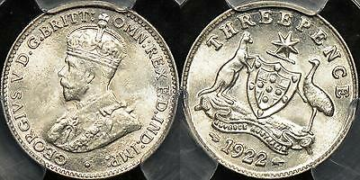 Australia 1922m Threepence 3d Gem Uncirculated PCGS MS65
