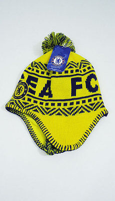 e083a92ccfd CHELSEA FC SOCCER POM BEANIE Snow Cap Sports Hat With Tassels Yellow ...