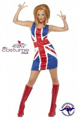Ginger Spice Girls Union Jack Dress 90s Pop Star Costume Size 6 - 16 AU