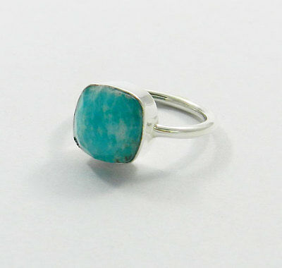 Natural Amazonite Pure 925 Sterling silver Gemstone Cushion beautiful Plain Ring