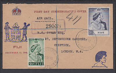 Fiji 1948 Royal Silver Wedding On First Day Cover Sg 270-271