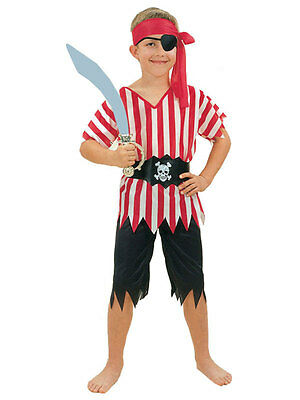Pirate Boy Costume Kids Caribbean Captain Fancy Dress Age 3 4 5 6 7 8 9 10 Years