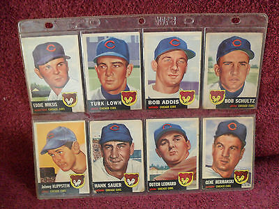 "LOT of EIGHT (8) ""Original"" 1953 TOPPS ""Chicago CUBS"" ""RARE"""" ""Baseball"" CARDS"