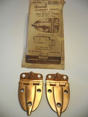 "Vintage NOS Wrought BRONZE Cabinet Door Hinges 3/8"" Offset Mount Boat Trailer"