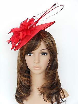 New Church Derby Cocktail Sinamay Fascinator Hat w headband 3070 Red