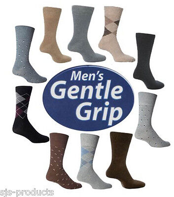 3 Pairs MENS Gentle Grip NON ELASTIC Socks Soft COTTON Honeycomb Top Size 6 - 11