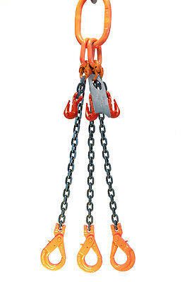 Chain Sling 3/8 x 10' Triple Leg Positive Lock Hooks Adjusters Grade 80