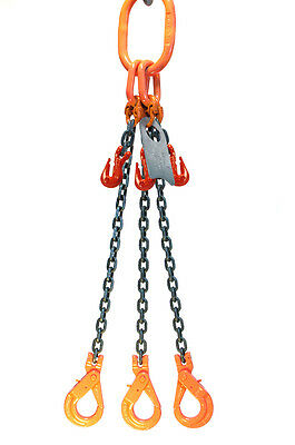 Chain Sling 3/8 x 5' Triple Leg Positive Lock Hooks Adjusters Grade 80