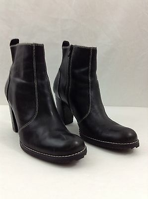 #879 Womens Black Kenneth Cole Reaction Chunky Heel Ankle Boot Leather 8M