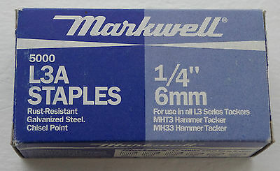 "Markwell L3A Staples 1/4"" 6mm 5000 for L3 Series Tackers"