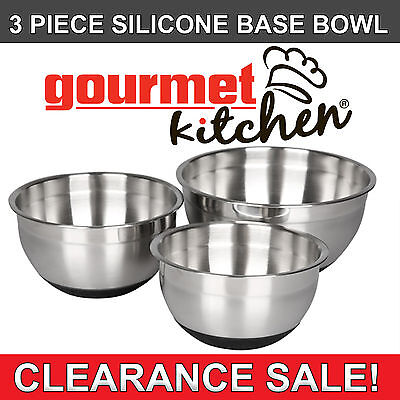 Brand New 3 Piece Silicone Base Polished Stainless Steel Salad Mixing Bowl