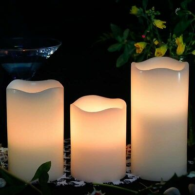 Set of 3 Flameless LED Candles with Remote- Pillar,Long Hours of Lighting