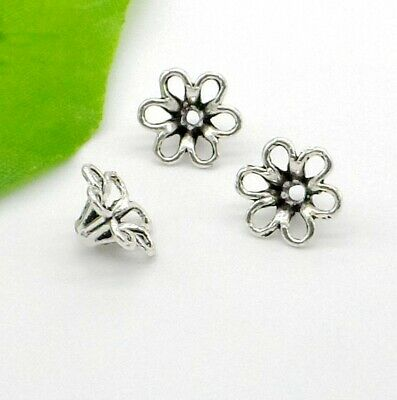 Free Ship 10/50Pcs Tibetan Silver Flower Beads Caps For Jewelry Making 13x6mm