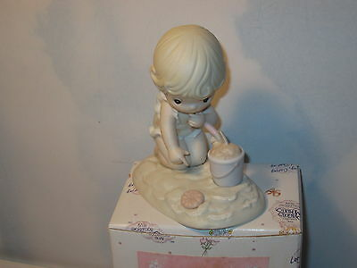 Precious Moments His Little Treasure 1993 Members only Figurine MIB