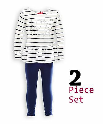 Girls 2 Piece Outfit, Striped White Top & Navy Leggings Set, sizes 3 to 8 years