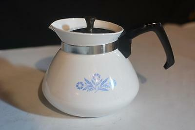 VTG 6 CUP CORNING WARE BLUE CORNFLOWER TEA POT WARMER METAL LID USA Coffee